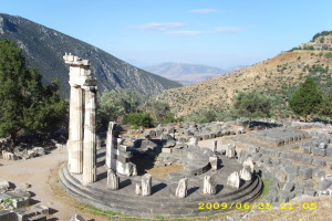 View from Pronaia, Sanctuary before the Temple of Apollo at Delphi, Greece