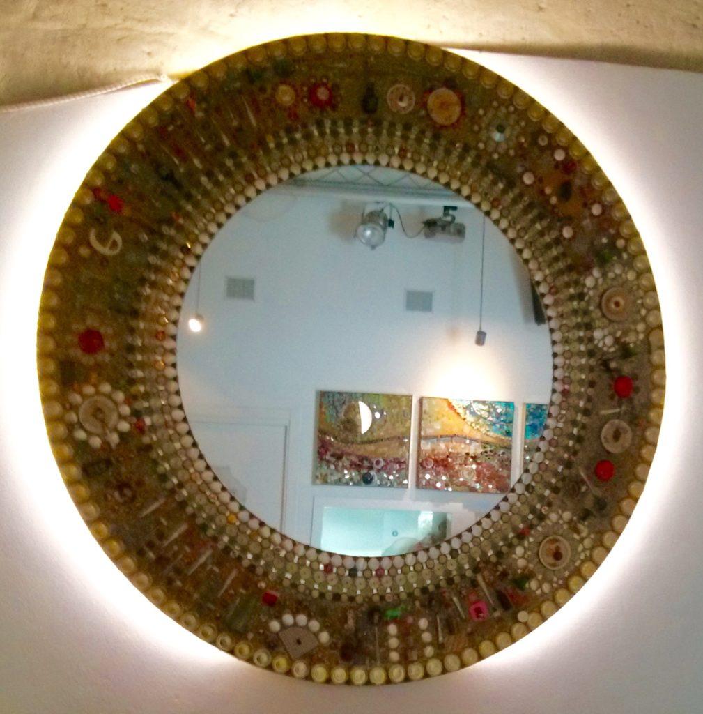 Cafe round mirror, Matera, Italy